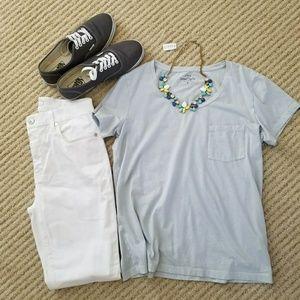 J. Crew Blue Garment-Dyed Pocket T-shirt